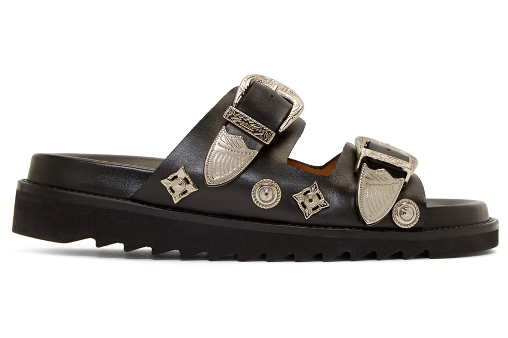 sandals, black, buckles, double strap, toga pulla