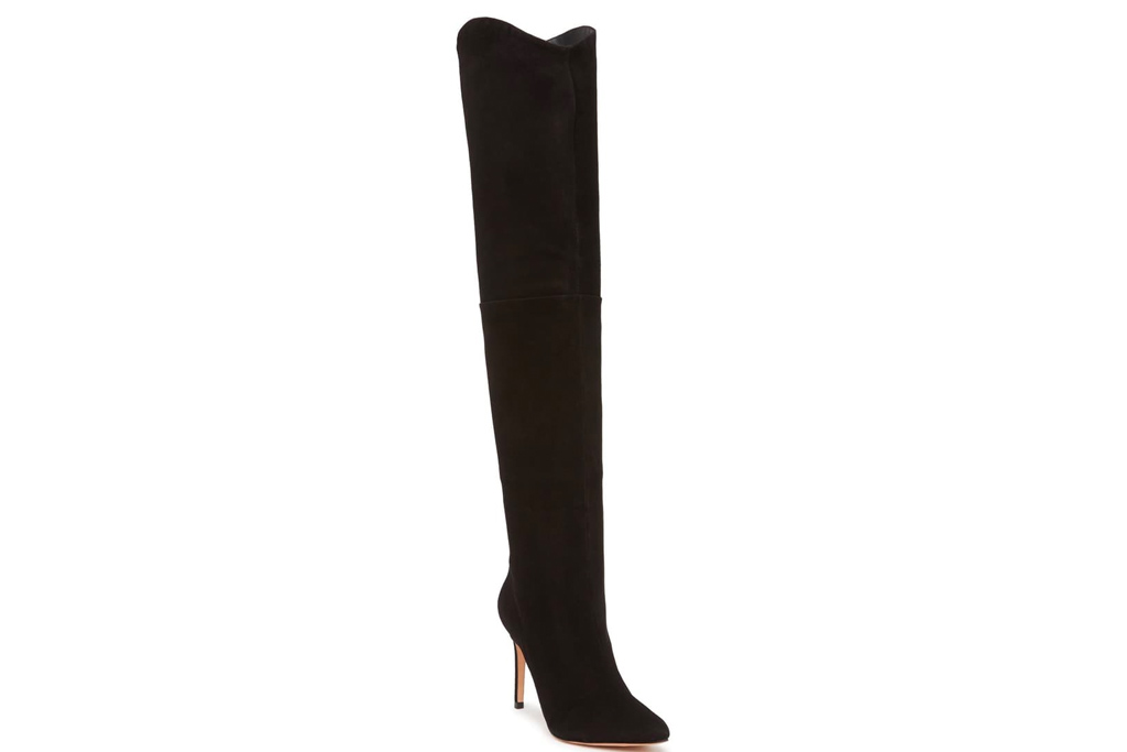 black boots, suede, over the knee, thigh high, schutz