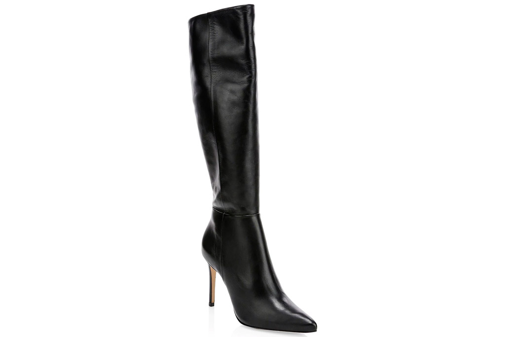 black boots, leather, knee high, schutz