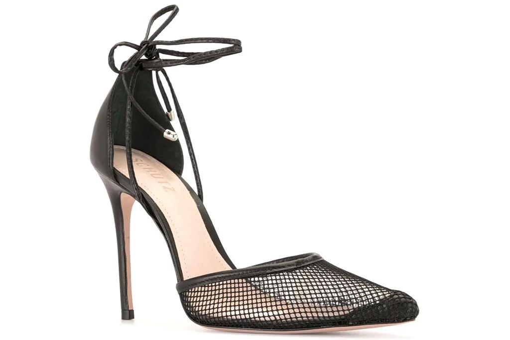 heels, ankle wrap, pointed toe, pumps, schutz