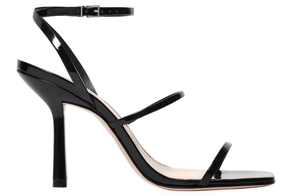 black, square-toe sandals, schutz