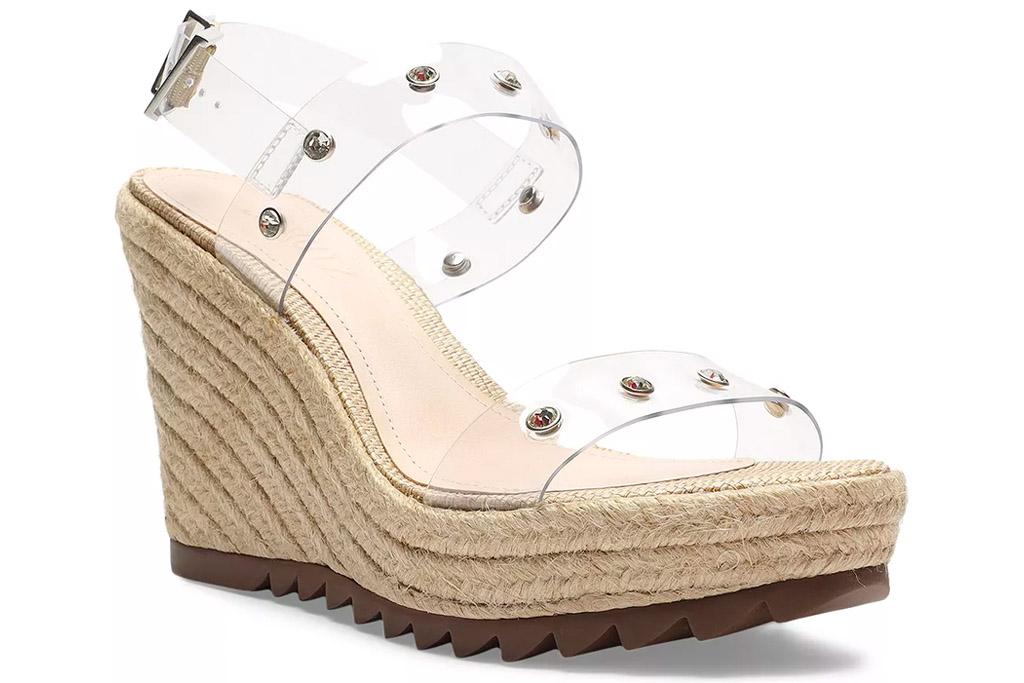 clear heel, wedges, espadrille, schutz