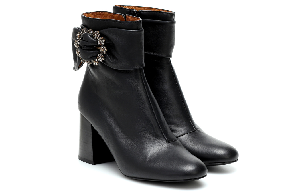 black boots, booties, embellished, see by chloe