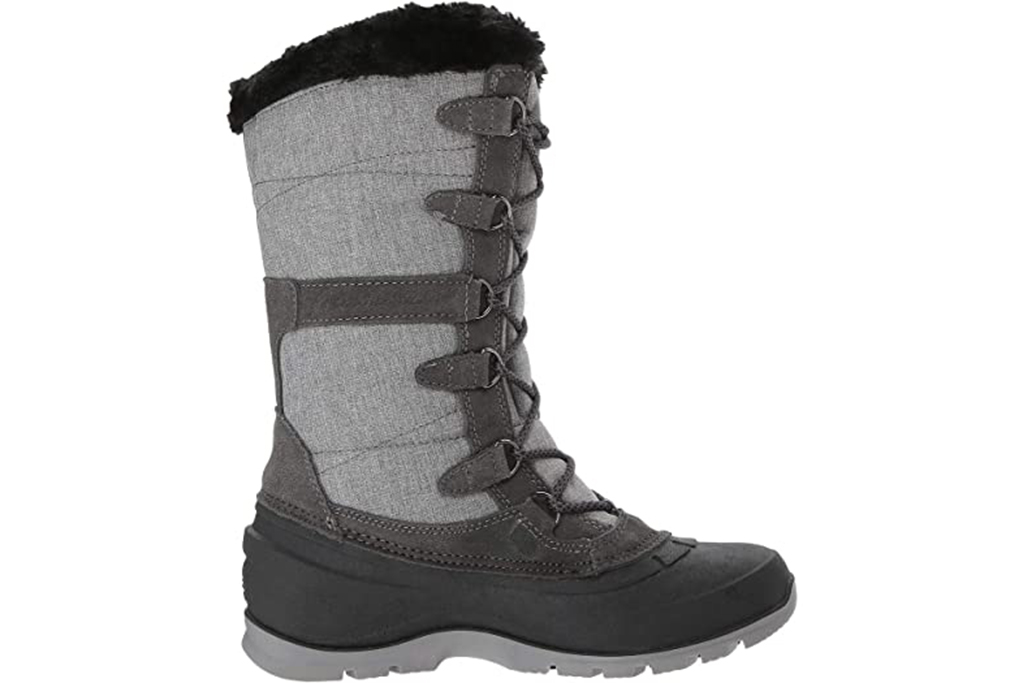 kamik valley snowboots, grey tall snow boots, lace up snow boots