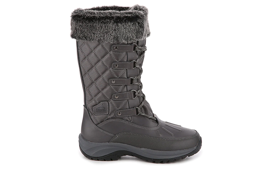 gray snow boots, tall snow boots, lace up boots
