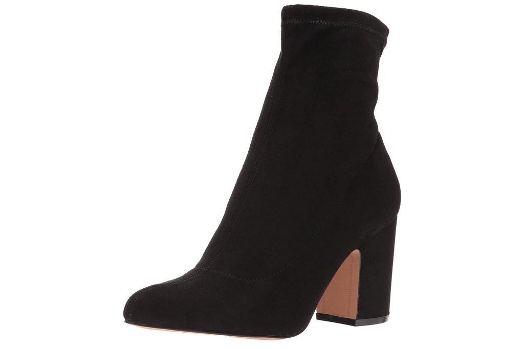 black boots, booties, heeled, suede, steve madden