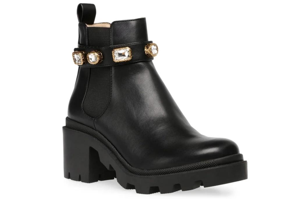 black boots, booties, embellished, steve madden