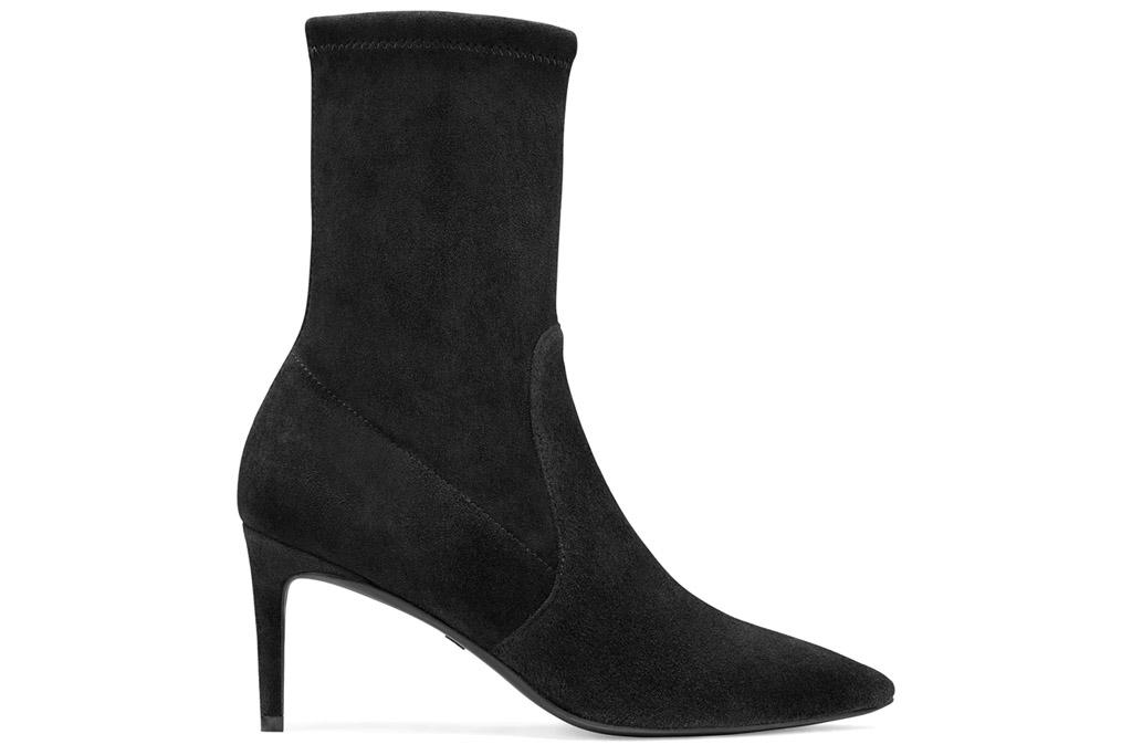 black boots, booties, heeled, suede, stuart weitzman
