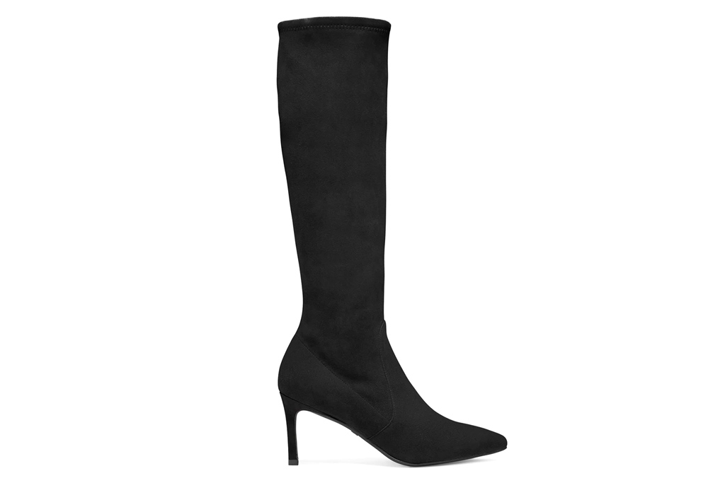 black boots, knee high, heeled, pointed toe, suede, stuart weitzman