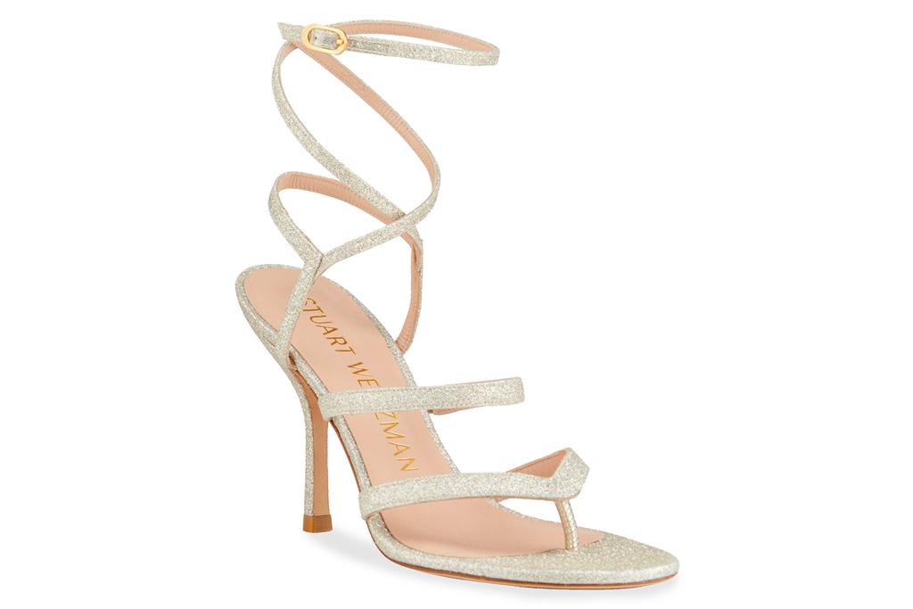 sandals, glitter, ankle wrap, stuart weitzman