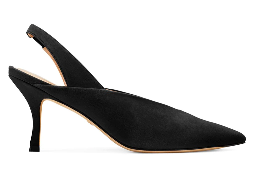 black heels, slingback, pumps, pointed toe, stuart weitzman