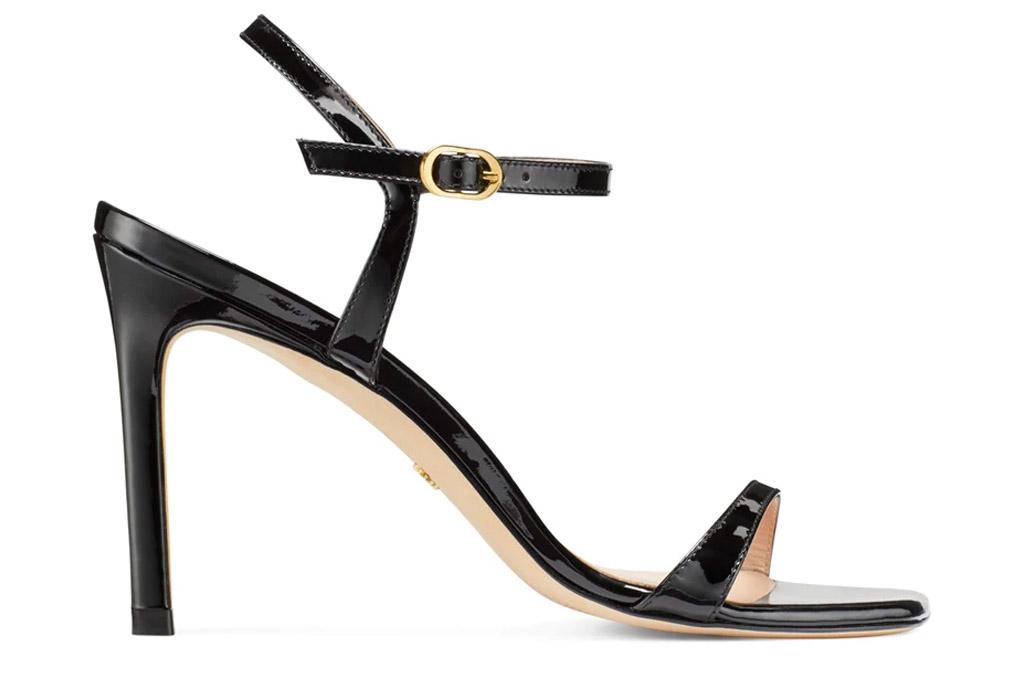 black, square-toe sandals, stuart weitzman