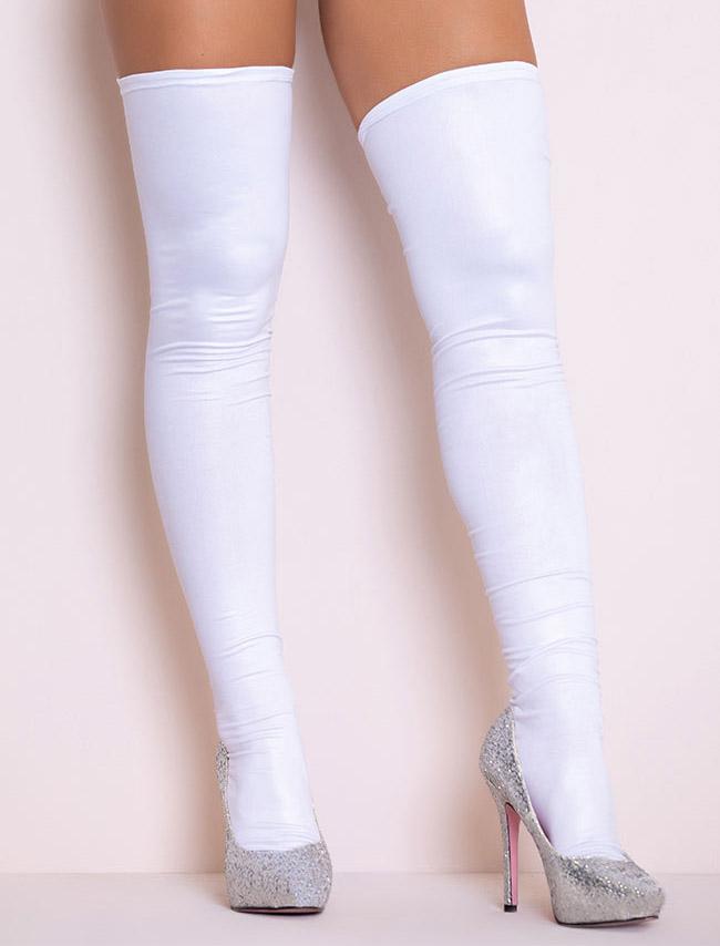 stockings, thigh high, white, latex