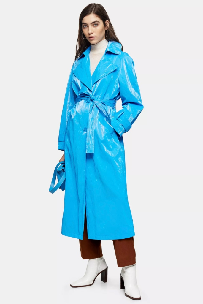 topshop, coat, blue, trench