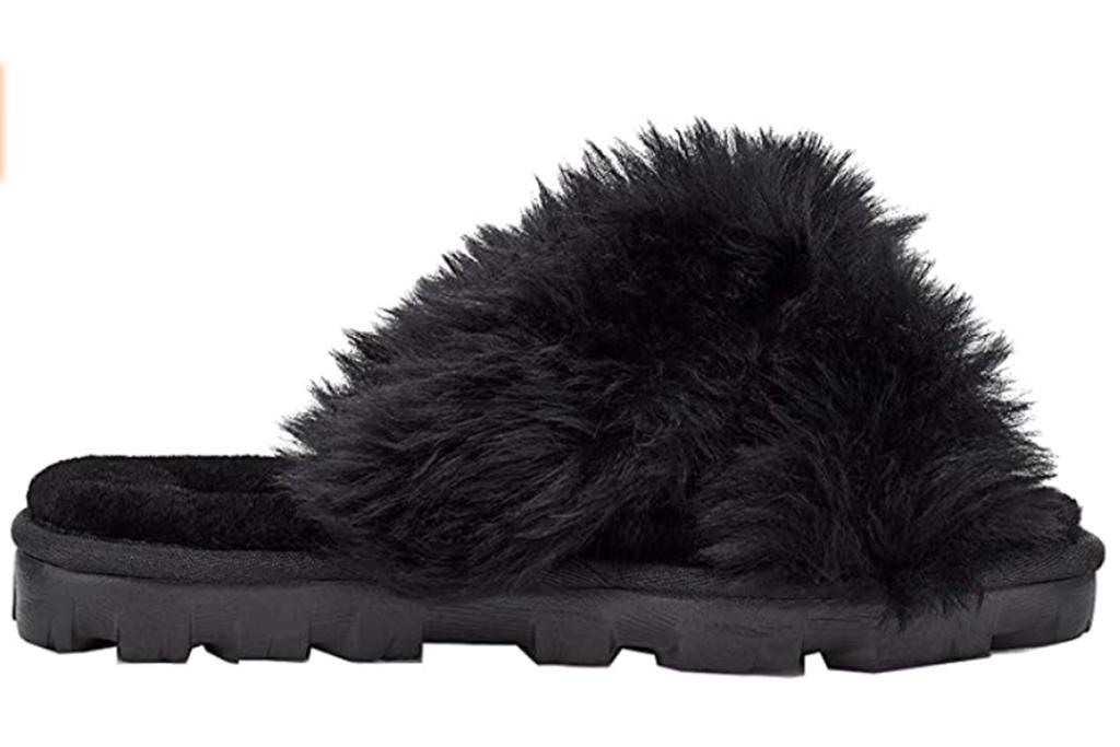 ugg fuzzy slipper, black fuzzy slide, fuzzy slides