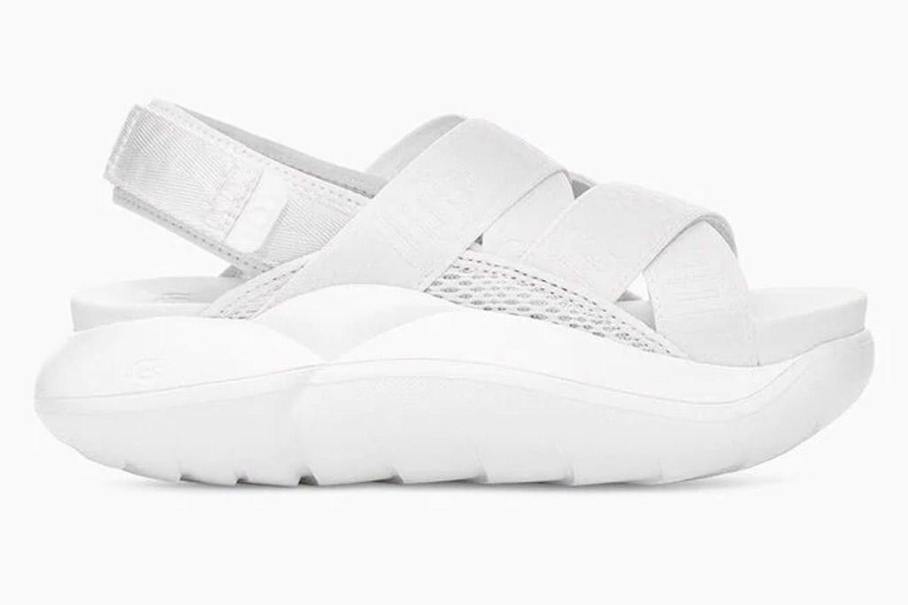 white sandals, velcro, chunky, ugg