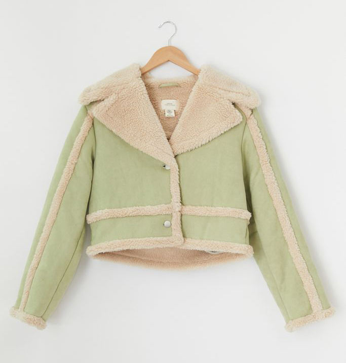 urban outfitters, green jacket, shearling