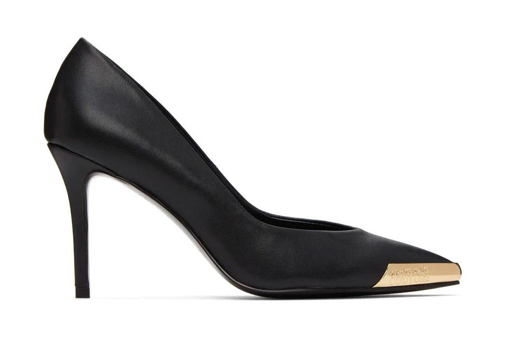 gold heels, black, versace jeans