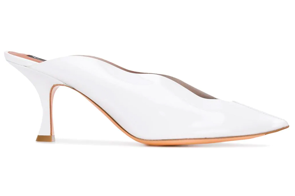 white mules, pointed toe, heels