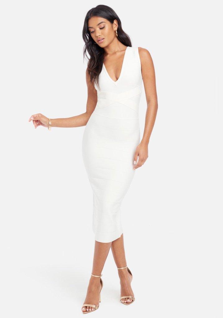 white dress, bandage, off-the-shoulder, bebe