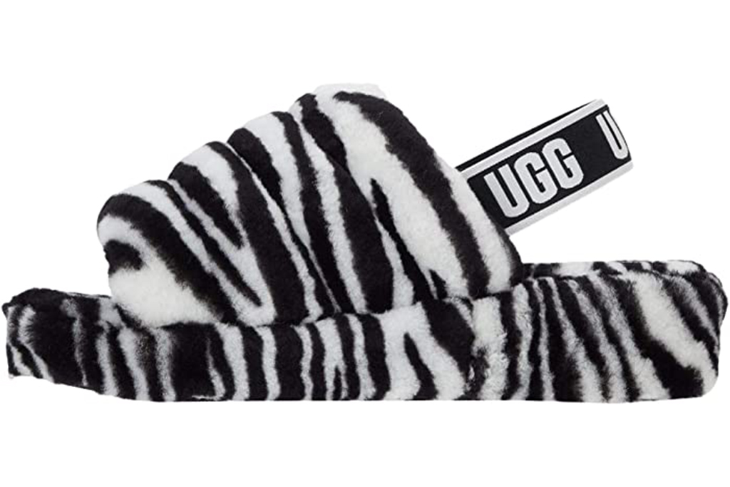 ugg fluff yeah slippers, zebra print slippers, zebra shoes