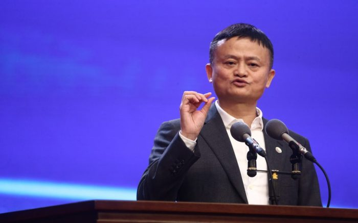 Jack Ma, or Ma Yun, the co-founder and former executive chairman of Alibaba Group, a multinational technology conglomerate, delivers a speech during the 5th World Zhejiang Entrepreneurs Convention in Hangzhou city, east China's Zhejiang province, 13 November 2019.  (Imaginechina via AP Images)