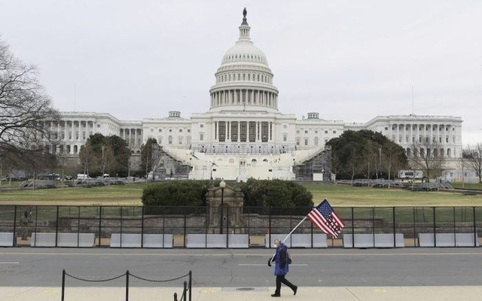 US Capitol Hill is seen with non-scalable fencing and concrete barriers, two days after Pro Trump's demonstrators protest against Joe Biden's certify as US President-elect, today on January 09, 2021 in Washington DC, USA. (Photo by Lenin Nolly/Sipa USA)(Sipa via AP Images)