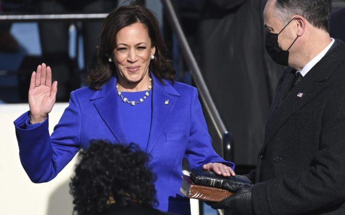 Kamala Harris is sworn in as