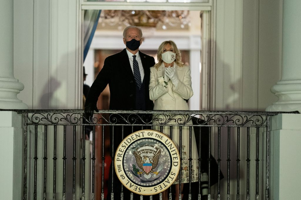 joe biden, jill biden, fireworks, katy perry, dress, coat, gabriela hearst, shoes, mask, inauguration, white house
