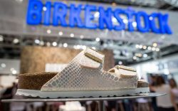 A shoe by manufacturer 'Birkenstock' can