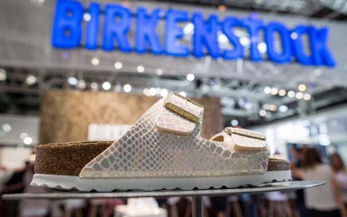 A shoe by manufacturer 'Birkenstock' can be seen can be seen at the GDSshoe trade fair in Duesseldorf,Germany, 26 June 2016. Comfortable shoes will be the trend in Spring/Summer 2017 for every situation. Photo by: Maja Hitij/picture-alliance/dpa/AP Images