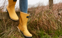 Joules yellow rainboots stepping into grassland