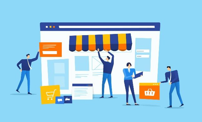 Illustration graphic of an online virtual marketplace