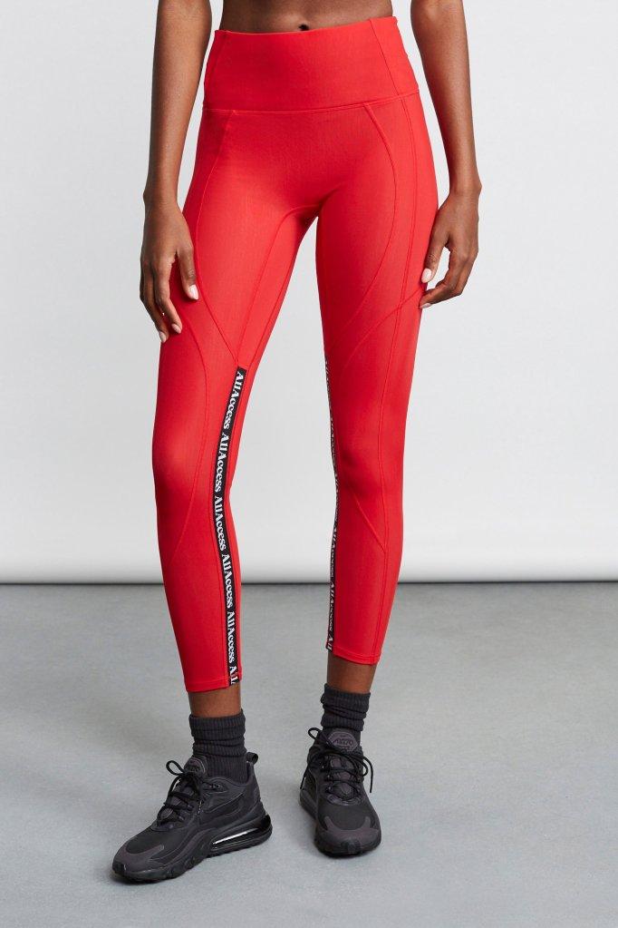 leggings, sports bra, red, all access