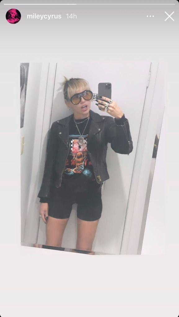 miley cyrus, shorts, biker shorts, t-shirt, jacket, leather jacket