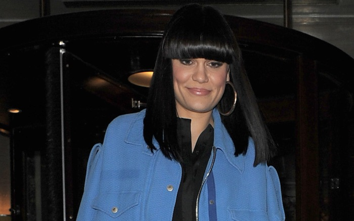 Jessie J leaving The Berkeley Hotel in Knightsbridge. The singer wore a blue jacket, black leather trousers and carried a grey handbag
