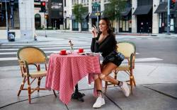 Winnie Harlow enjoys a socially distanced