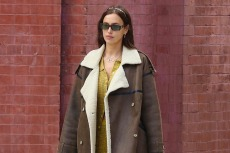 Irina Shayk Confirms 2021's Hottest Hue With A Knit Two-Piece Set, Shearling Coat & Chunky Boots