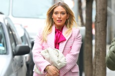 Hilary Duff Channels Elle Woods in a Printed Pink Coat & Black Pumps on 'Younger' Set