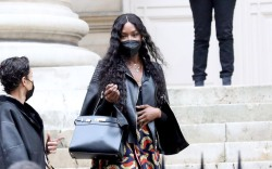 Naomi Campbell leaving the Fendi show