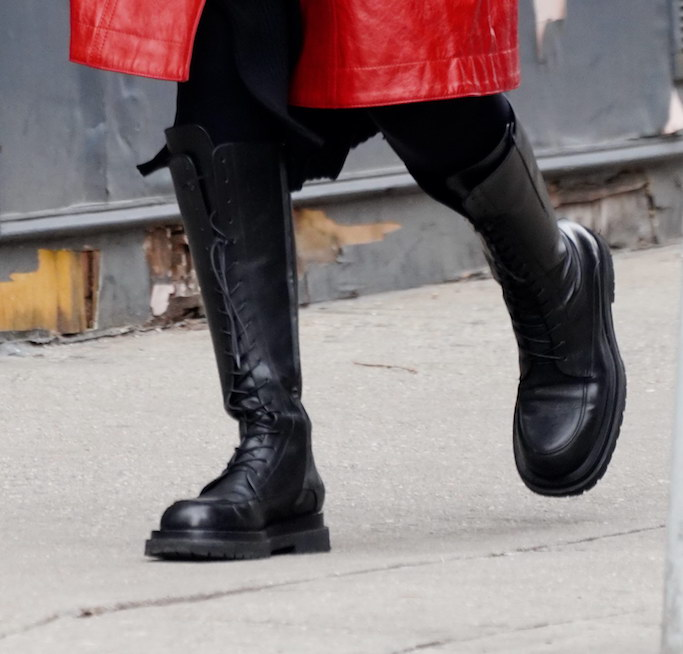 Irina Shayk in New York City wearing black combat boots