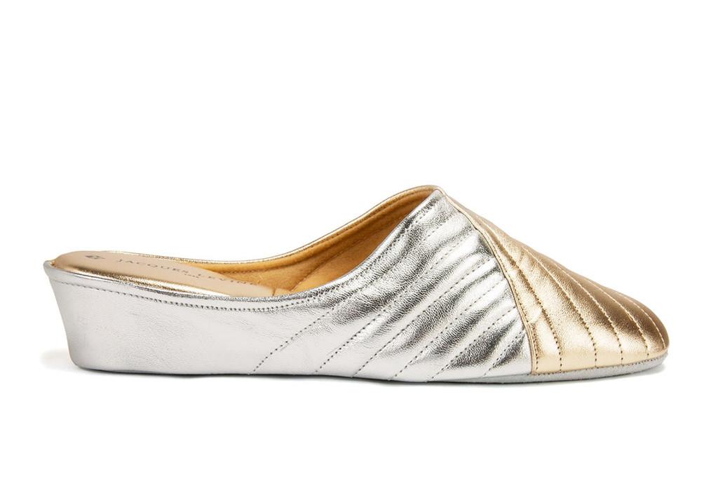metallic slippers, shiny slippers, gold slippers
