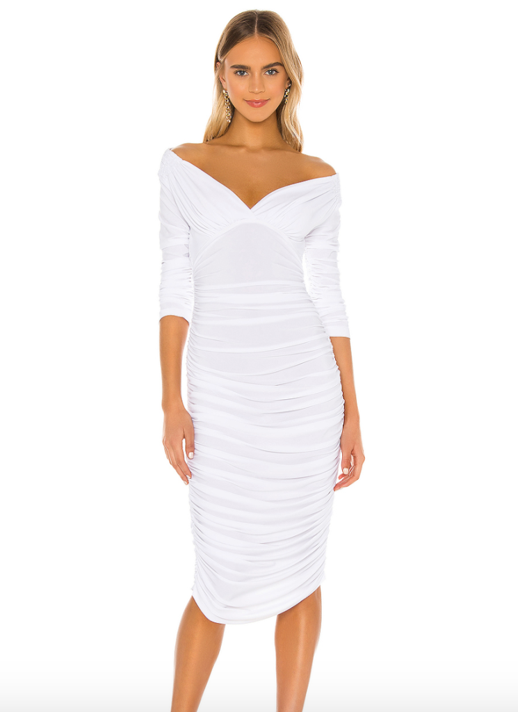 white dress, bandage, off-the-shoulder, norma kamali