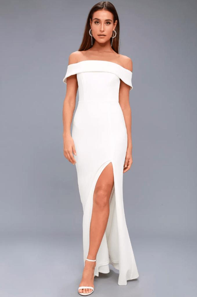 white dress, bandage, off-the-shoulder, lulus