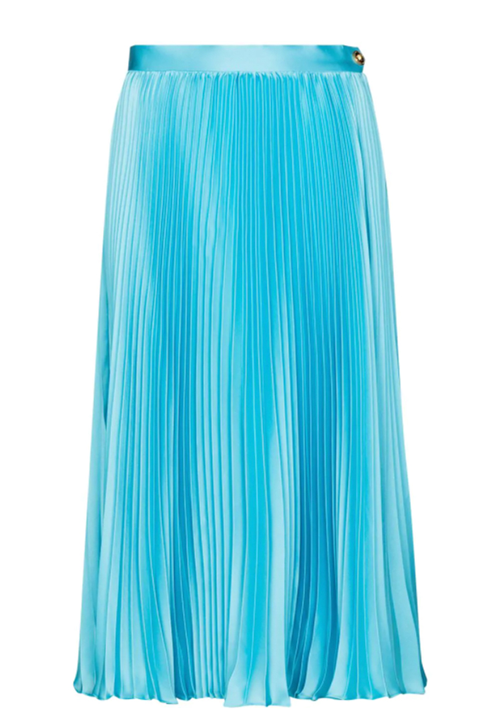 versace midi skirt, hailee steifeld versace skirt, blue pleated skirt