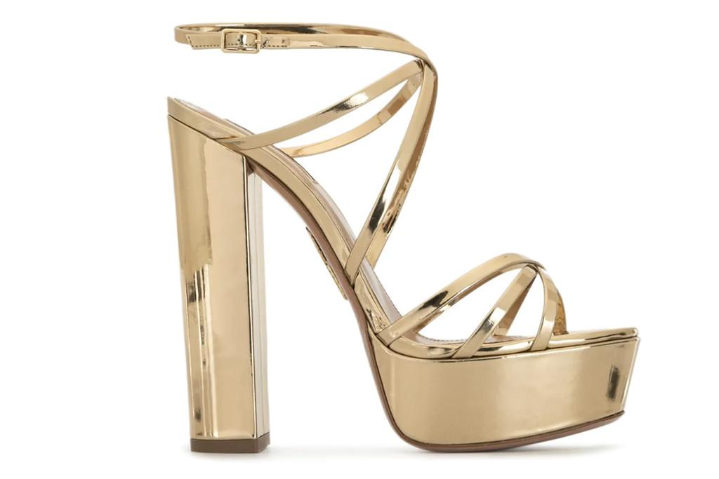 aquazurra shoes, aquazurra platform heels, gold platform heels