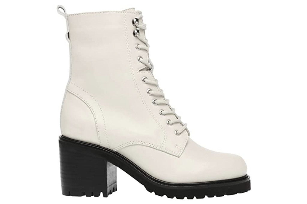 white heeled combat boots, white booties, white boots