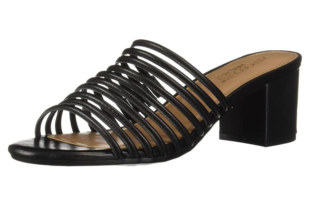 sandals, black, block heel, aerosoles