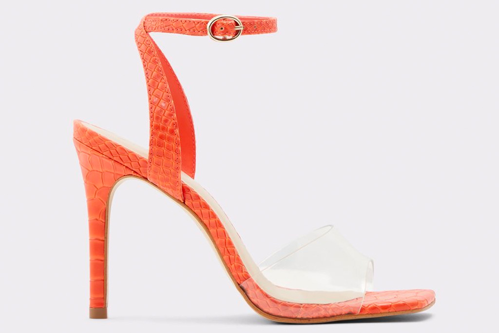 orange heels, aldo, sandal
