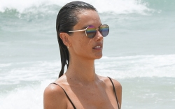 alessandra ambrosio, bathing suit, bikini, shorts,
